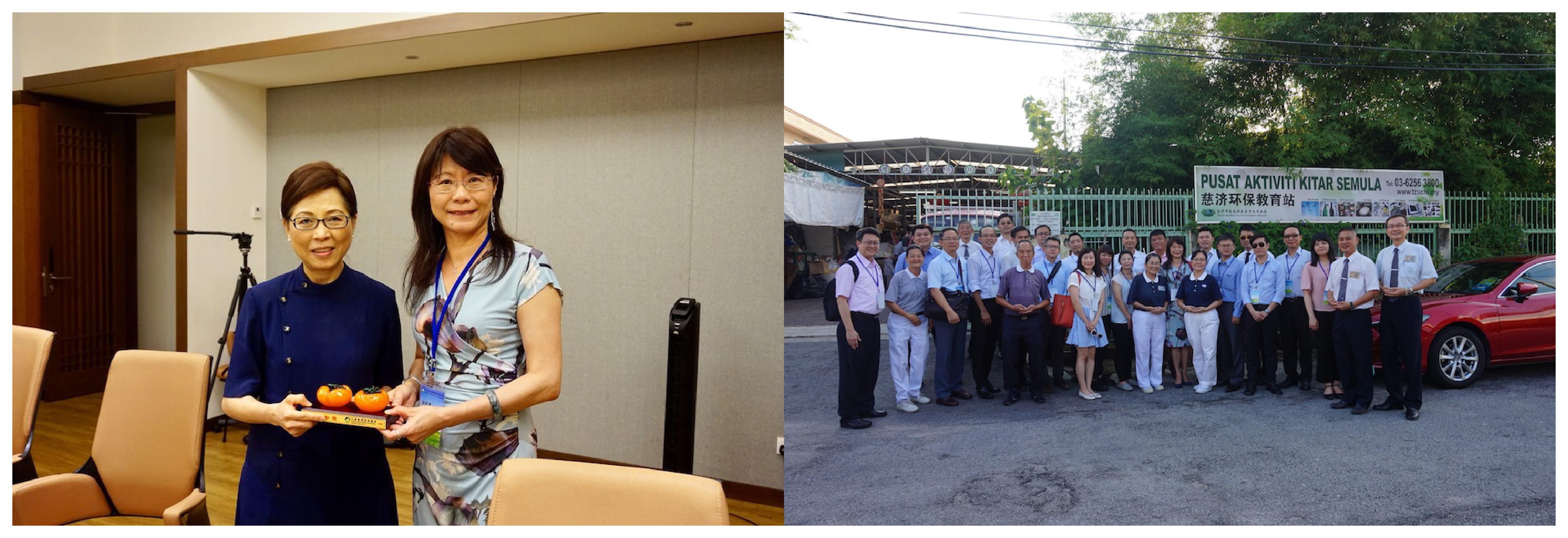 圖說:拜會臺灣佛教慈濟基金會馬來西亞雪隆分會簡慈露執行長,會後參訪當地資源回收環保教育站,瞭解慈濟推動資源回收現況,雙方更是討論回收產業輸出東南亞的機會。